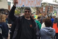 While members of his lab marched in D.C., Andy marched on Nassau Street in Princeton.